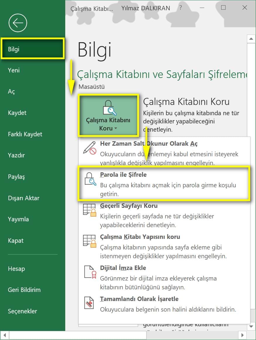 Bir Excel dosyasını nasıl şifrelemek ve korumayı kaldırmak için