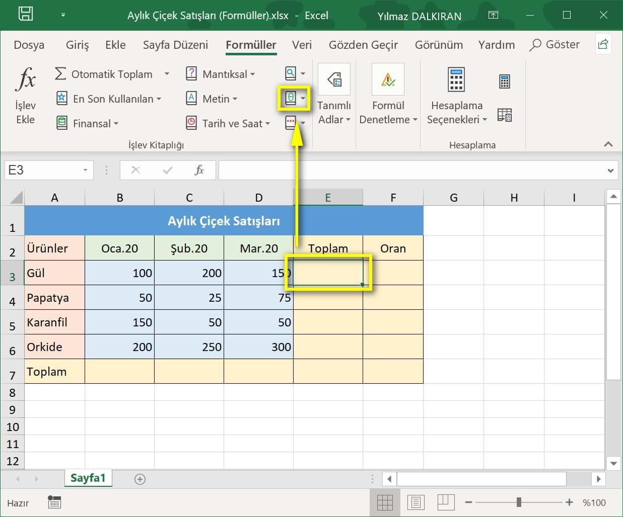 Topla Formülü Ve Otomatik Toplam Temel Düzey Excel Dersleri