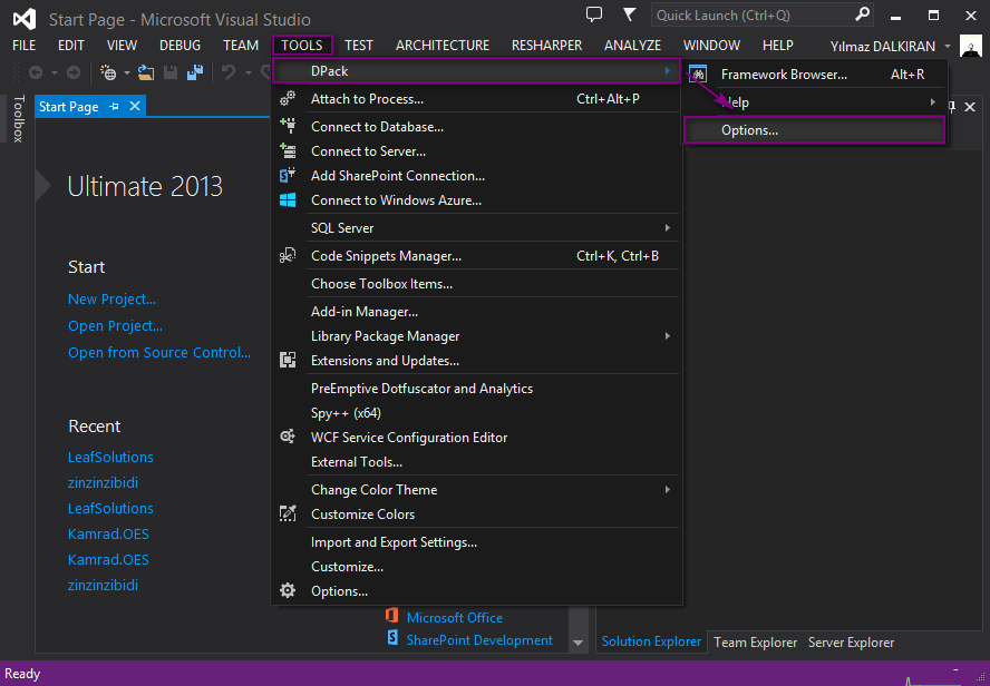 visual studio back up dpack